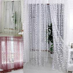Voile Valances DecorLeaf Pattern Window Sheer Curtain for Be