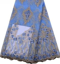 Wedding, Prom Embroidered Light Blue Gold Lace Fabric Beaded