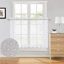 White Cafe Curtains 36 Inches Length With Pink Pompoms Desig