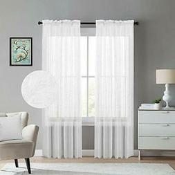 White Curtains 108 Inches Long Natural Linen Blended Texture