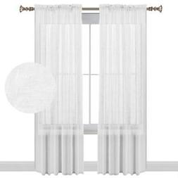 Turquoize White Curtains 108 Inches Long Natural Linen Blend