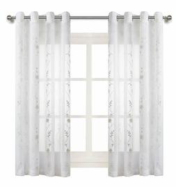 White Floral Embroidered Sheer Curtains for Living Room 63 i