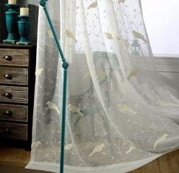 White Pastoral Bird Embroidered Curtains Balcony Linen Sheer