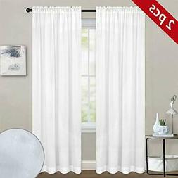 Melodieux White Semi Sheer Curtains 84 Inches Long for