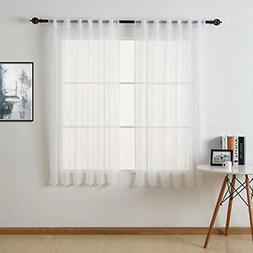 White Sheer Curtains 63 Inch Length-Back Tab Rod Pocket Voil