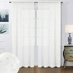 White Sheer Curtains 63 Inch Length For Living Room Bedroom,
