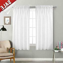 White Sheer Curtains For Bedroom 72 Inch Long Voile Set Semi