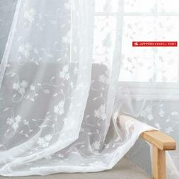 White Sheer Curtains For Living Room Floral Embroidery 72 In