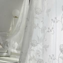 White Sheer Tulle Embroidered Curtains Fashion Modern Rod Po