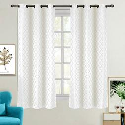 """2 Panels 42x63"""" Willow Jacquard Thermal Insulated Blackout D"""