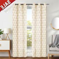 Window Curtains for Living Room Light Filtering Jacquard Cur