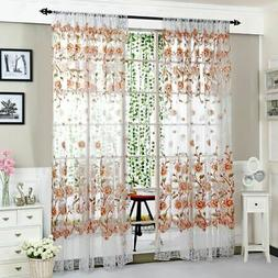 Window Door Drape Panel Sheer Floral Tulle Curtains Scarfs V