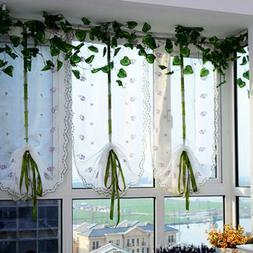 Useful Pastoral Tulle Window Roman Curtain Embroidered Sheer