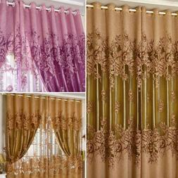 Window Screening Curtain European Peony Pattern Durable For
