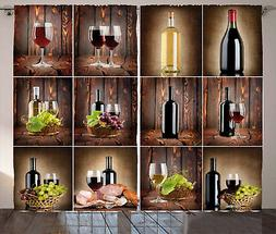 Wine Curtains Grapes Meat Drink Collage Window Drapes 2 Pane