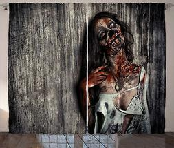 Zombie Curtains Angry Dead Woman Window Drapes 2 Panel Set 1